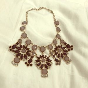 statement necklace black and gold flower